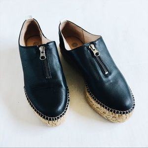 Black Leather Espadrilles by Eric Michael size 36